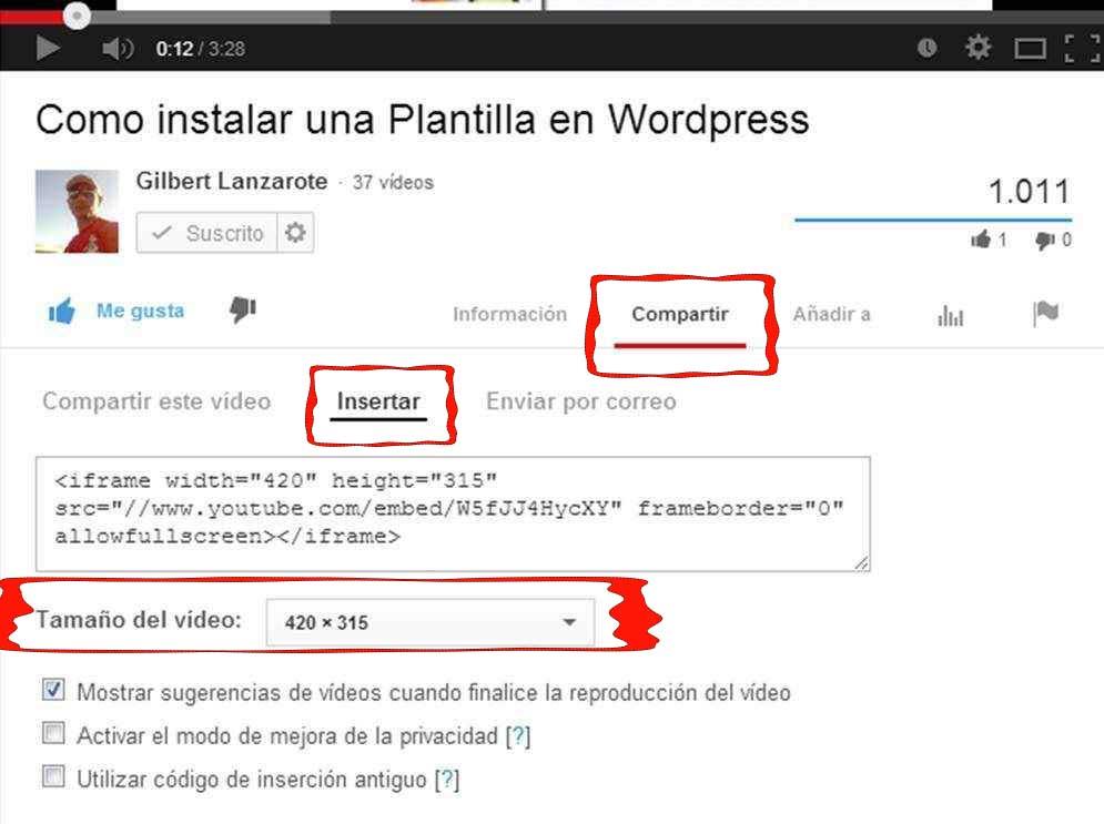 poner un video en youtube
