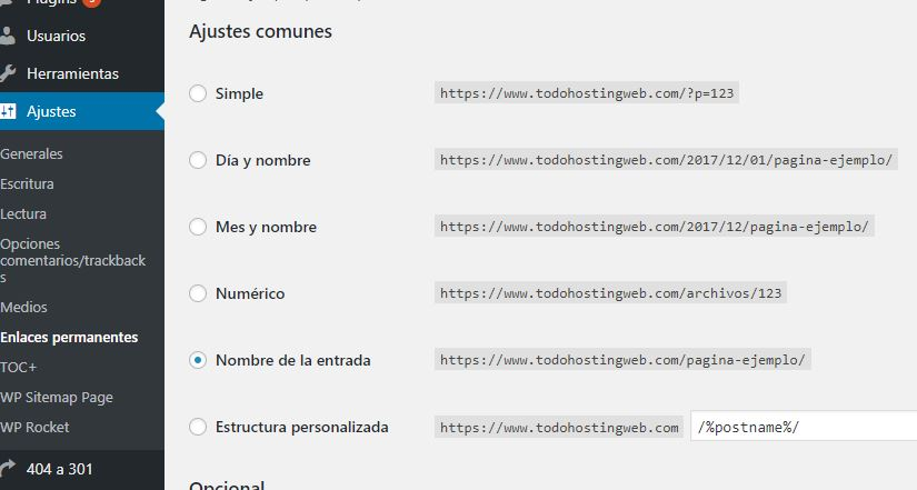 wordpress enlaces permanentes